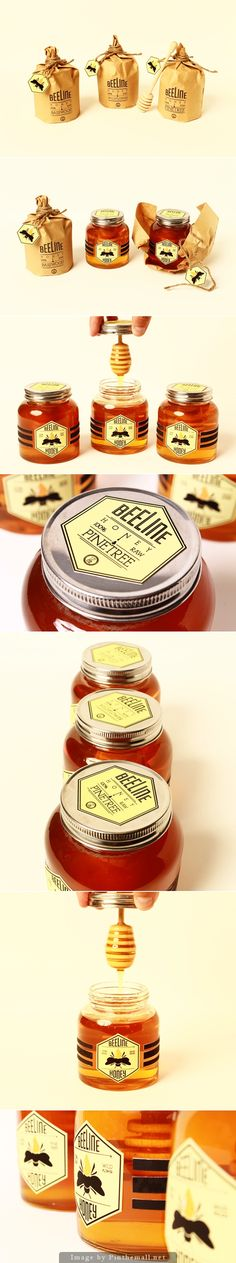 Sweet Beeline #honey #packaging curated by Packaging Diva PD - created via http://www.packagingserved.com/gallery/Beeline-Honey/9758393