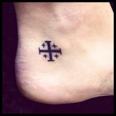 Jerusalem Cross ankle tattoo. Live the fourth!