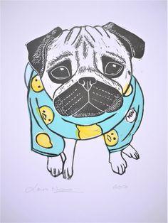 Pug Print Cute Pug in Pyjamas A4 Lino Print by TheBlackPugPress
