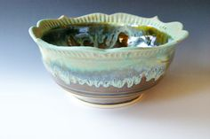 Handmade Bowl Fluted Lotus Rim Pottery Bowl  by riverstonepottery, $75.00