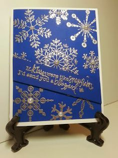 If kisses were like snowflakes, I'd send you a blizzard Silver heat embossed on dark blue Unity Stamps