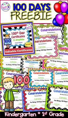 Get these editable, eye-catching certificates to honor your students on the 100th Day. This pack has 11 different certificates- all editable! #100thDayofSchool #100thDay #100Days #FreeResources  #Certificates #Kindergarten #1stGrade #FirstGrade #Freebie #TeacherFeatures
