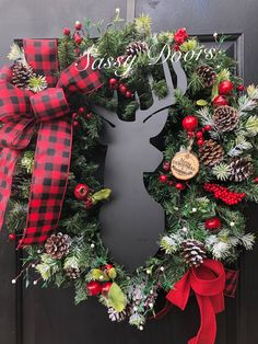 Deer Wreath, Christmas Wreath, Rustic Wreath, Woodland Wreath, Christmas Front Door Wreath, https://www.sassydoorswreaths.com/listing/550944010/christmas-wreath-rustic-christmas-wreath, Hang this beauty indoors above your fireplace mantle or greet your winter guest. Sure to be enjoyed by all ind