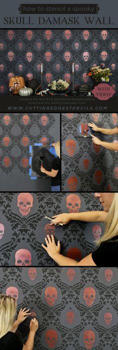Damask Wall Stencils, Skull Stencil, Stencil Diy, Bird Stencil, Stencil Patterns, Horse Stencil, Cutting Edge Stencils, Goth Home Decor, Diy Home Decor