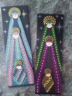 This could probably be done using ribbon instead of painting Nativity Painting, Christmas Nativity Set, Nativity Crafts, Christmas Art, Christmas Projects, Nativity Sets, Christmas Holidays, Christmas Decorations, Christmas Ornaments