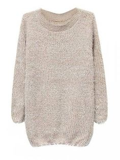Knit Solid Color Crew Neck Long Sleeve Women Mohair Sweater