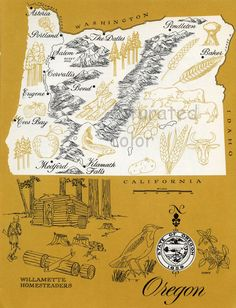 Oregon Map - Vintage colorful illustrated map of Oregon - 1960s picture map - Retro Fun Colors. $10.00, via Etsy.