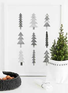 Passion Shake | 24 Monochrome Christmas ideas | http://passionshake.com christmas tree print