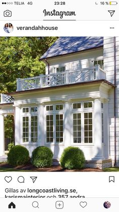 White House Exterior with gorgeous Chippendale Style Patio Railing - House, House With Porch, Sunroom Decorating, House Exterior, Colonial Exterior, Exterior Design, Bay Window, Exterior, Building A Porch