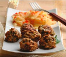 Manitoba Turkey Meatballs with Braised Apples O Canada, Turkey Meatballs, Mashed Potatoes, Apples, Ethnic Recipes, Food, Whipped Potatoes, Smash Potatoes, Meals