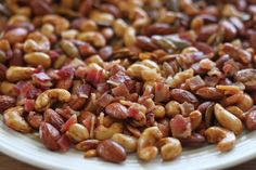Trail mix is usually a blend of sweet and salty ingredients, but it doesn't have to be. This trail mix is savory all the way, combining roasted nuts and Primal Recipes, Low Carb Recipes, Whole Food Recipes, Snack Recipes, Paleo Trail Mix, Trail Mix Recipes, Keto Snacks, Healthy Snacks, Keto Foods