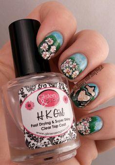 Irish landscape with flowers nail art #IrishInspired #nailart #IrishFlowers | Be Happy And Buy Polish