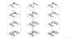 axonometría combinaciones de tipologías de viviendas en Prien