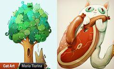 25 Creative Cat Art works and Drawings by Maria Tiurina |   http://myartmagazine.com/united-kingdom-artists | Art Magazine http://myartmagazine.com | Follow us www.pinterest.com/myartmagazine