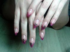 Katya-Nails Nailart Pink mit Schwarz -UV Gelnägel
