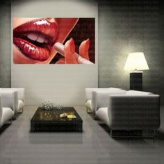 Red Lips Face and Cigarette Canvas Wall Art  Decor