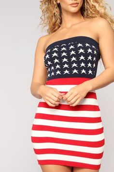 fae63b846a3d Sexy Club Mini Dress Women American Flag Independence Day Strapless Off  Shoulder Bodycon Summer Party Plus Women Dresses