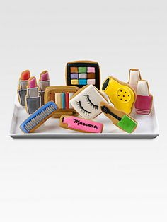 cookies in the shape of beauty products. love it!