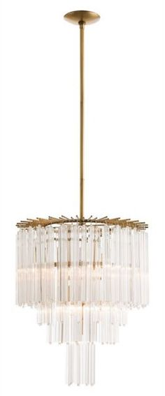 """Description: The staggered antique brass rods at the top of the chandelier form a jewelry-like collar that the first tier of fluted triangular glass rods are suspended from. Three more tiers hide the seven lights and create a beautiful diffused light. Approved for use in covered outdoor areas. FREE SHIPPING. Item# 707LIG-ART-89014 Dimensions: 33-57""""x 20""""D"""