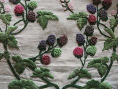 """Vintage Stunningly Hand Embroidered Tablecloth Wild Flora Berries 33"""" x 33""""   eBay"""