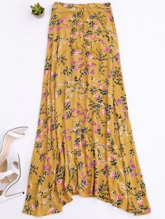 SHARE & Get it FREE | Front Slit Tiny Floral Maxi Skirt - YellowFor Fashion Lovers only:80,000+ Items • New Arrivals Daily Join Zaful: Get YOUR $50 NOW!