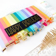 anett's : Happy Birthday Cards using Colorful Cardstock and Cold Foiling Happy Birthday Cards, Birthday Fun, Glue Crafts, Pretty Cards, Color Card, Creative Cards, Card Sizes, Some Fun, Rainbow Colors
