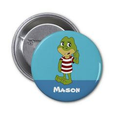 Button with frog cartoon