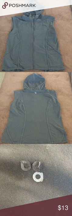 Actra vest Comfy hooded athletic vest.  Missing drawstring at neck; staining at front bottom—see pic. Actra Jackets & Coats Vests