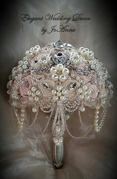 PINK Jeweled Brooch Bouquet DEPOSIT Pink by Elegantweddingdecor