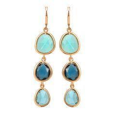 Blue Zircon Drop Earrings ($100) ❤ liked on Polyvore featuring jewelry, earrings, blue earrings, blue zircon jewelry, zircon earrings, drop earrings and zircon jewelry