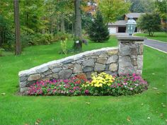 Granite driveway entry wall picture
