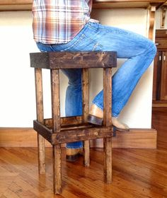 Rustic Wooden Bar Stool With Shelf - Etsy - A Walk Through The Woods