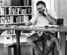 Ernest Hemingway at his writing desk