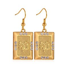 U7 New Classic Dangle Earrings Allah Muslim Earrings 18K Real Gold / Platinum Plated Austrian Rhinestone Jewelry For Women *** Read more info by clicking the link on the image. #NiceJewelry