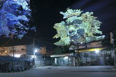 Cambodian Trees is a creative light projection project by French artist Clément Briend that overlays trees with sculptural images of spirits and deities that are highly regarded in Cambodian culture. It's a beautiful surprise when the projected spirits awaken and reveal themselves at night as though they are made of the towering trees themselves.