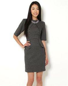 Gabby Skye Striped 3/4 Sleeve Peplum Dress
