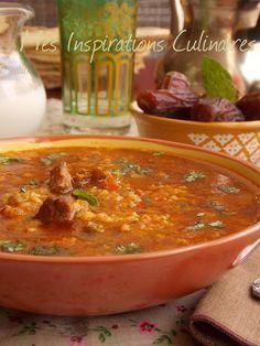 Ramadan - Chorba frik (soupe agneau et blé vert concassé) Plats Ramadan, Lebanon Food, Tunisian Food, Algerian Recipes, Arabian Food, Eastern Cuisine, Ramadan Recipes, Middle Eastern Recipes, Mediterranean Recipes
