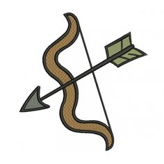 Bow and Arrow Archery Filled Machine Embroidery Digitized Pattern- Instant Download - 4x4 ,5x7,6x10 -hoops  #embroidery #machineembroidery #applique #digitized #needlework #sew #patterns #bow #arrow #archery