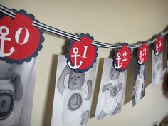 Sailing Boy Collection: Monthly Nautical first birthday photo banner. Nautical Birthday. Picture Banner. First Year Banner.