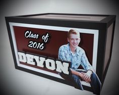 Classy 2016 graduation gift card money envelope box for Devon with a double cutout name and his handsome picture from his graduation photo shoot.