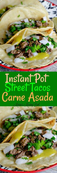 Cooking Delicious - Instant Pot Steak Tacos (Carne Asada) Recipe, A quick and easy recipe for your weeknight meals. It has a great flavor that's perfect for street tacos! Healthy Recipes, Mexican Food Recipes, Crockpot Recipes, Cooking Recipes, Quick Recipes, Healthy Meals, Yummy Recipes, Steak Tacos, Fish Tacos