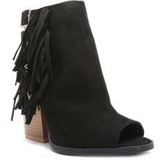 Qupid Barnes Fringe Peep-Toe Ankle Booties ($40) ❤ liked on Polyvore featuring shoes, boots, ankle booties, peep toe booties, high heel boots, fringe boots, chunky-heel boots and high heel booties