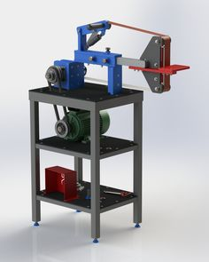 Knife Belt Grinder with Stand -- I was helping Mark to use SolidWorks to draw in his 'KMG' style Knife Belt Grinder design and decided t.