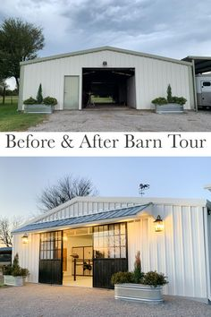 Metal Buildings Discover Before & After: A Black & White Barn Transformation in Texas - STABLE STYLE A beautiful black and white barn renovation in Texas. This horse barn went from drab to fab with a lot of hard work and a handful of personal touches. Building A Pole Barn, Metal Building Homes, Metal Homes, Building A House, Metal Shop Building, Building Design, Architecture Renovation, Barn Renovation, Warehouse Renovation