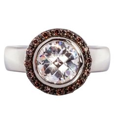 Sterling Silver Pavé Set Ring with Beautiful White and Rich Brown Cubic Zirconias in Rub Over Setting Gorgeous Dress, Beautiful, Cubic Zirconia Earrings, Dress Rings, The Shining, White Stone, Sterling Silver Rings, Bracelet Watch, Centre