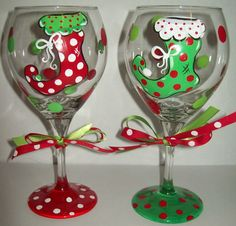 Floppy Christmas stocking wine glasses.