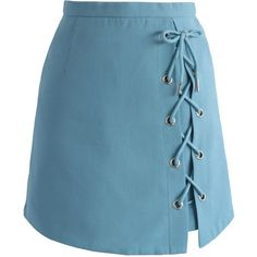 Chicwish Stylish Tie Bud Skirt in Blue (€25) ❤ liked on Polyvore featuring skirts, mini skirts, bottoms, saias, blue, blue skirt, chicwish skirt, short mini skirts, short blue skirt and mini skirt