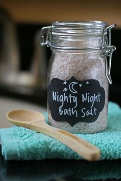 A really simple DIY bath salt recipe that contains sleep promoting ingredients for children, including a special kid-safe Nighty-night essential oil.