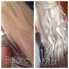 Silver/grey hair using wella toner on box dyed blonde hair - Love this hair color! White Blonde Hair, Dyed Blonde Hair, Silver Grey Hair, Toner For Blonde Hair, Platinum Blonde Toner, White Hair Toner, Silver Hair Toner, Grey Hair Using Wella, Hair And Beauty