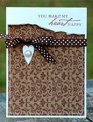 Sweet & Simple Heart Card...with torn edged paper & ribbon.